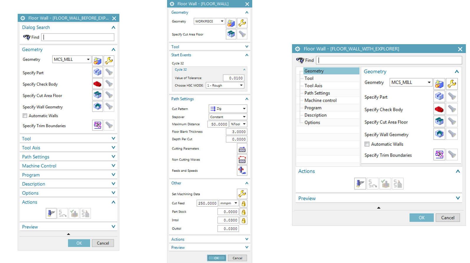 How to modify CAM operation dialog window