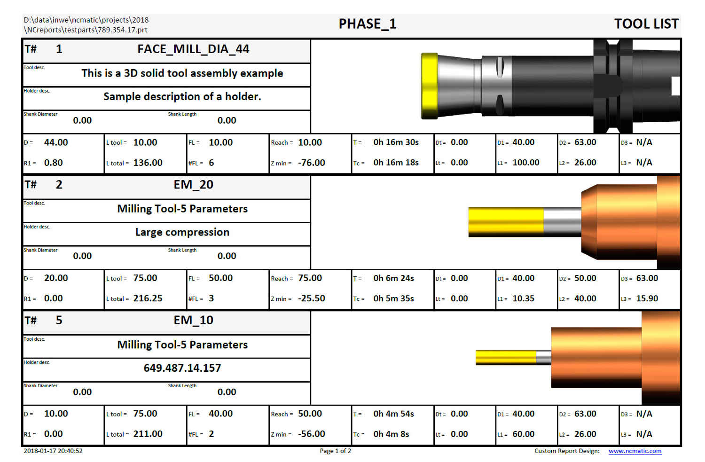 detailed tool list for NX Setup Sheet - NX Shop Doc - NCreports - NX Work Instructions