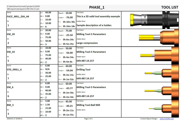 tool list for NX Setup Sheet - NX Shop Doc - NCreports - NX Work Instructions